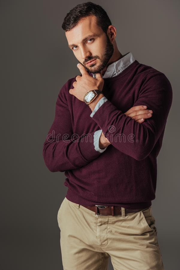 Handsome pensive man posing in burgundy sweater. Isolated on grey stock photography