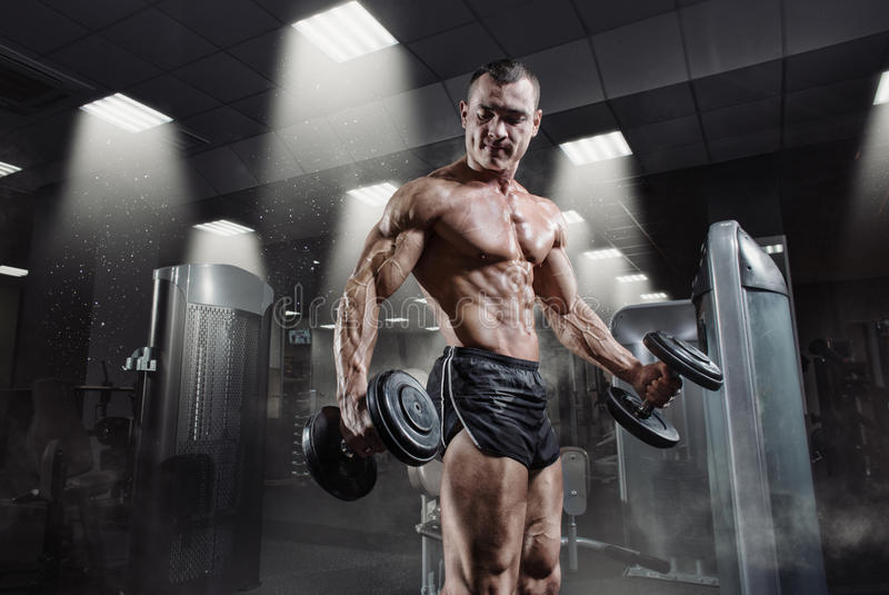 Handsome power athletic bodybuilder in training pumping up muscles. With dumbbell in gym. Strong bodybuilder with perfect abs, shoulders, biceps, triceps and royalty free stock images