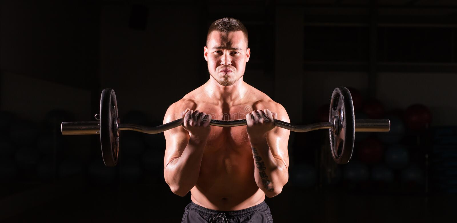 Handsome power athletic man with barbell. Strong bodybuilder with six pack, perfect abs, shoulders, biceps, triceps and royalty free stock photos
