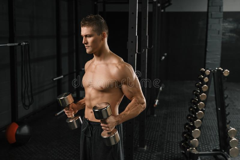 Handsome power athletic man bodybuilder doing exercises with dumbbell in a gym. Fitness muscular body on dark background royalty free stock photos