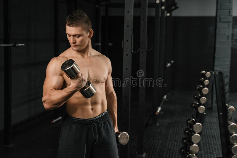 Handsome power athletic man bodybuilder doing exercises with dumbbell. In a gym. Fitness muscular body on dark background stock images