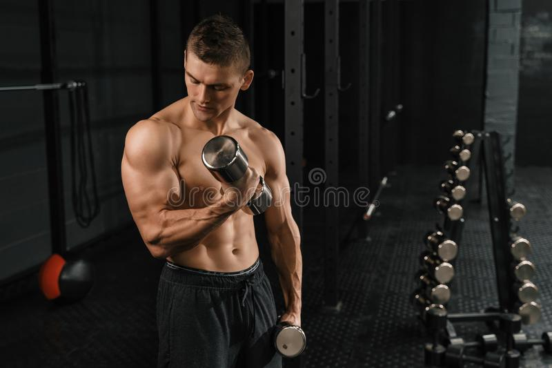 Handsome power athletic man bodybuilder doing exercises. With dumbbell in a crossfit gym. Fitness muscular body on dark background royalty free stock photo