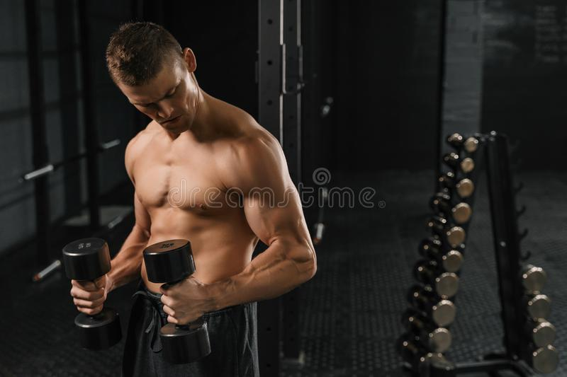 Handsome power athletic man bodybuilder doing exercises. With dumbbell in a gym. Fitness muscular body on dark background. Crossfit training stock image