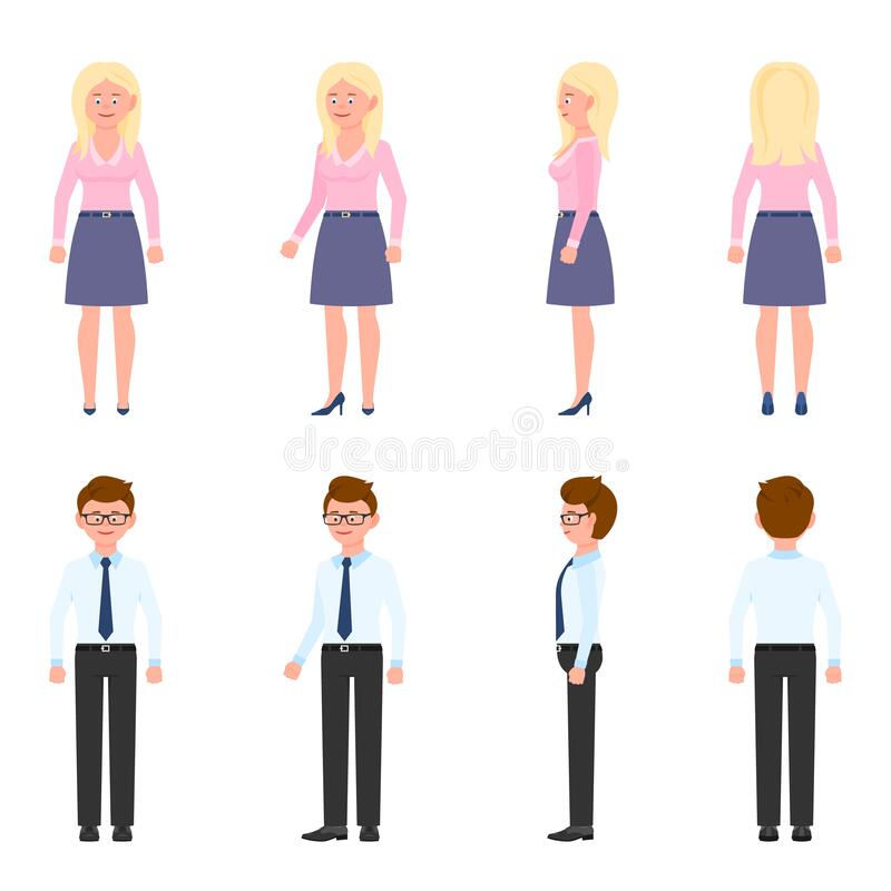 Free Handsome, Pretty Office Worker Man, Woman Vector. Standing, Smiling, Front, Side, Back View Male, Female People Cartoon Character Royalty Free Stock Photo - 173711005