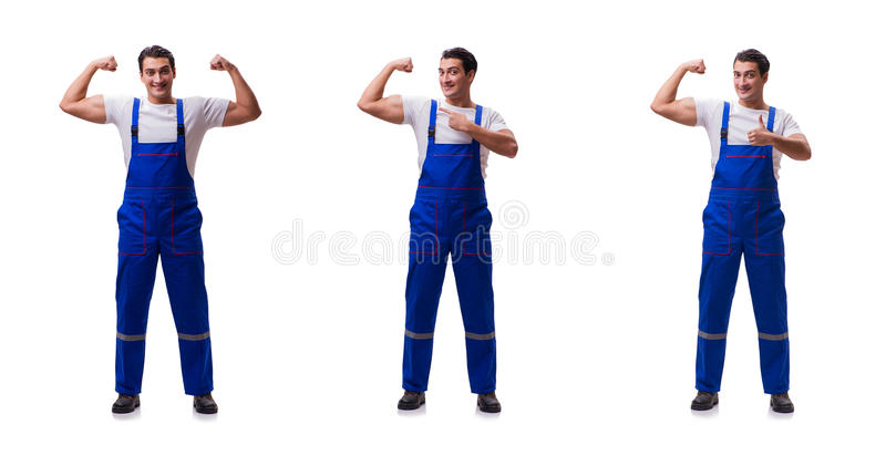 The handsome repairman wearing coveralls isolated on white. Handsome repairman wearing coveralls isolated on white royalty free stock photography