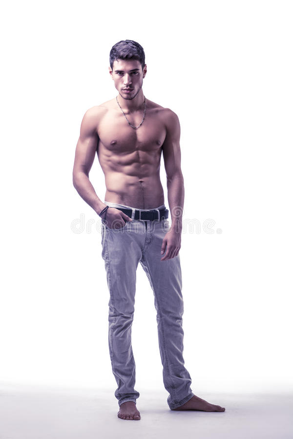 Free Handsome Shirtless Athletic Young Man On White Royalty Free Stock Images - 60937529