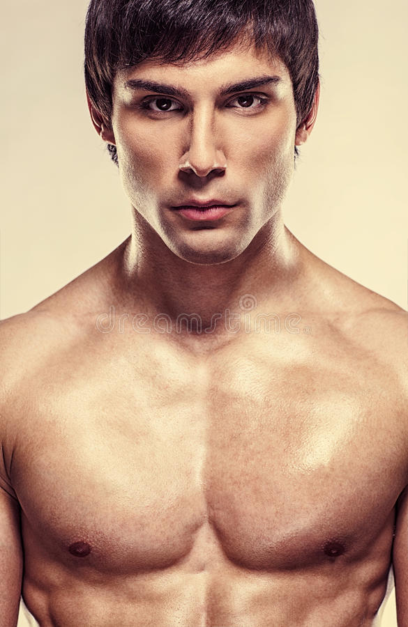 Handsome Shirtless Model Posing royalty free stock images