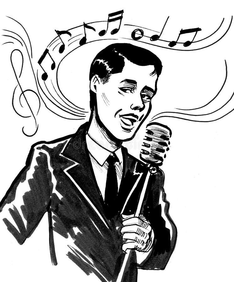 Handsome singer stock illustration
