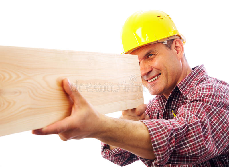 Handsome skilful woodworker royalty free stock photos