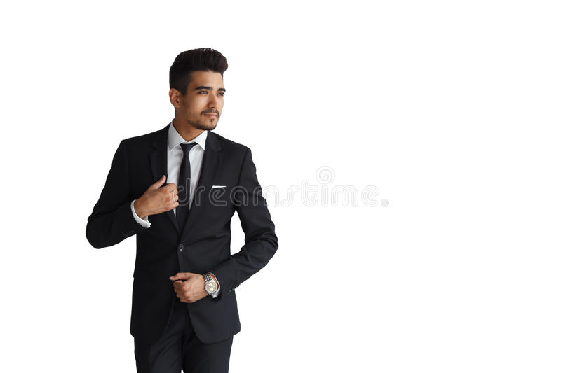 Handsome smiling businessman isolated on a white background. copy space. royalty free stock image