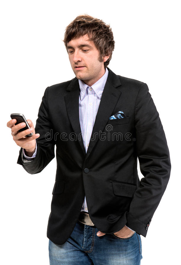 Download Handsome Smiling Man With Cell Phone Stock Image - Image: 34328455