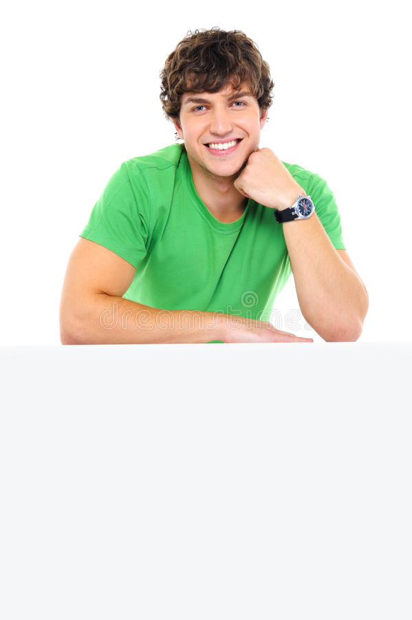 Download Handsome Smiling Man Lean On The White Billboard Stock Photo - Image: 13077914