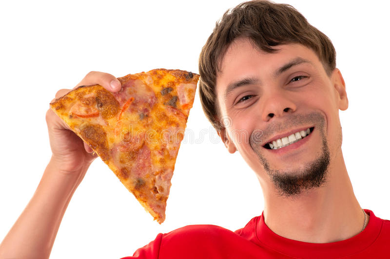 Handsome smiling man with slice pizza royalty free stock image