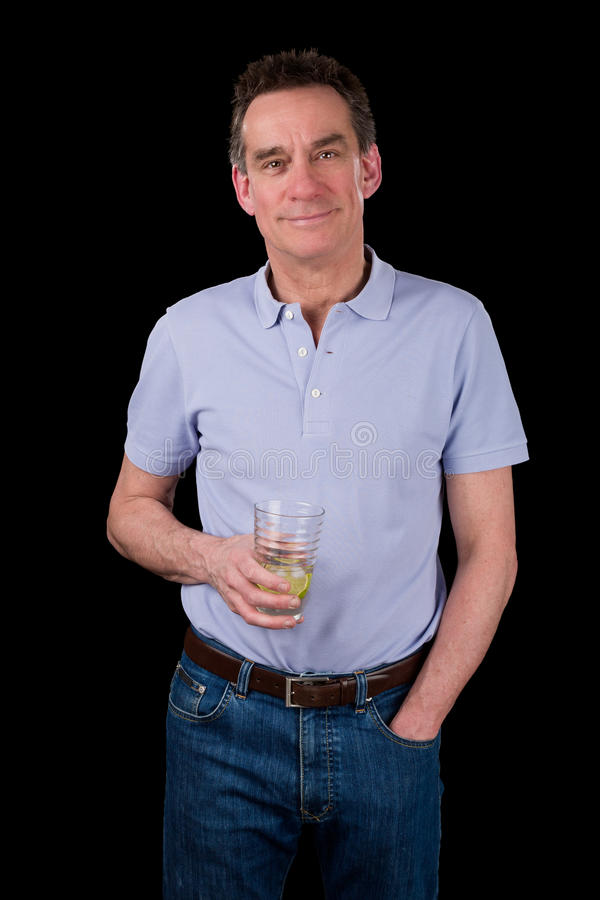 Handsome Smiling Middle Age Man Holding Drink stock photography