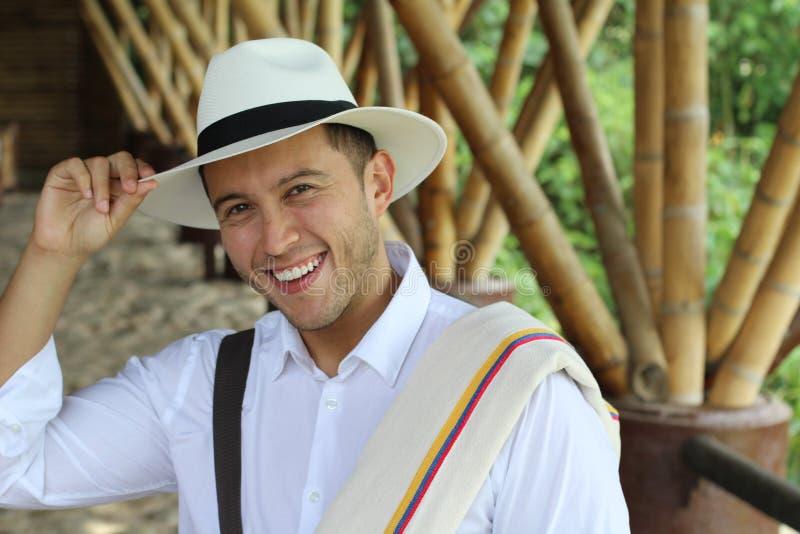 Handsome South American man saluting stock photos