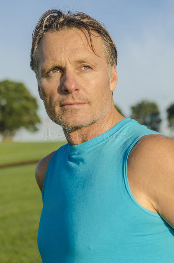 Handsome sportsman with stubble royalty free stock images
