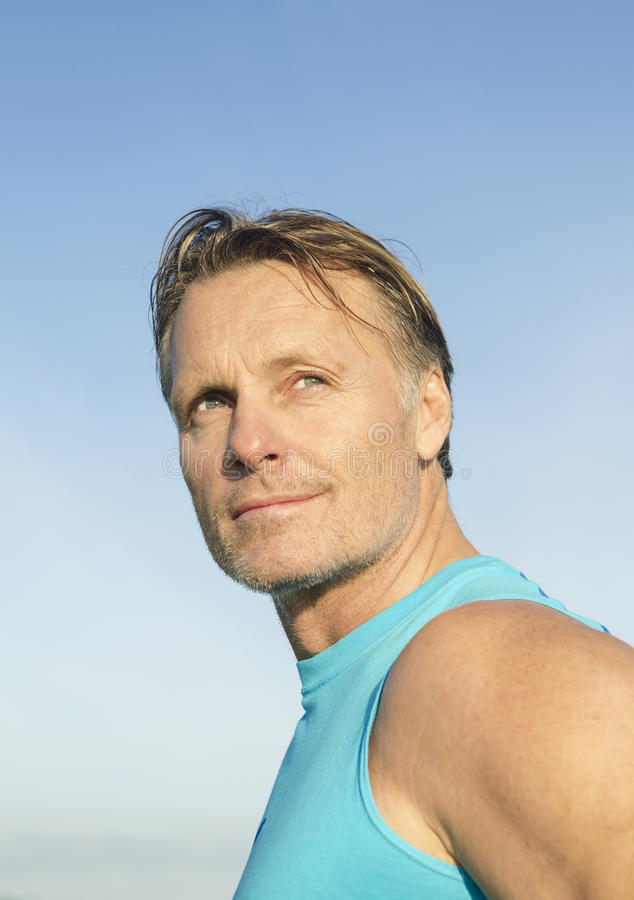 Handsome sportsman with stubble royalty free stock photos