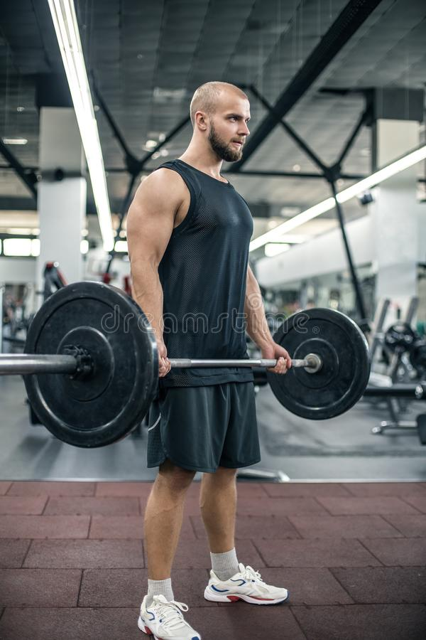 Handsome strong athletic fitness men pumping up arm muscles workout barbell curl fitness concept background - muscular bodybuilder royalty free stock images