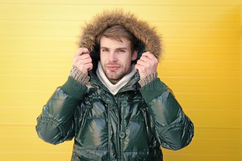 Handsome style. Fashionable man in cold weather style. Fashion model enjoying warmth and comfort. Casual fashion coat royalty free stock photos