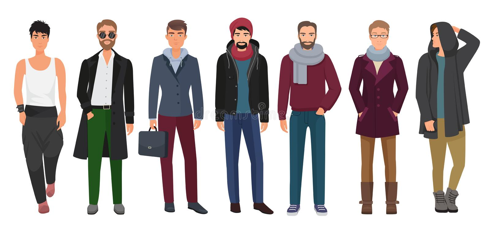Handsome and stylish men set. Cartoon guys male characters in trendy fashion clothes. Vector illustration. stock illustration