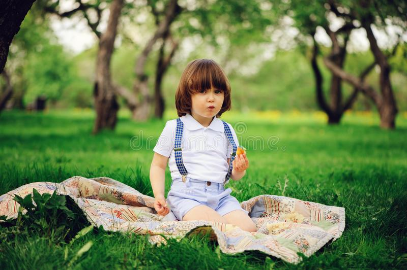 Handsome stylish 3 years old toddler child boy with funny face in suspenders enjoying sweets on picnic. In spring or summer garden or park stock photography