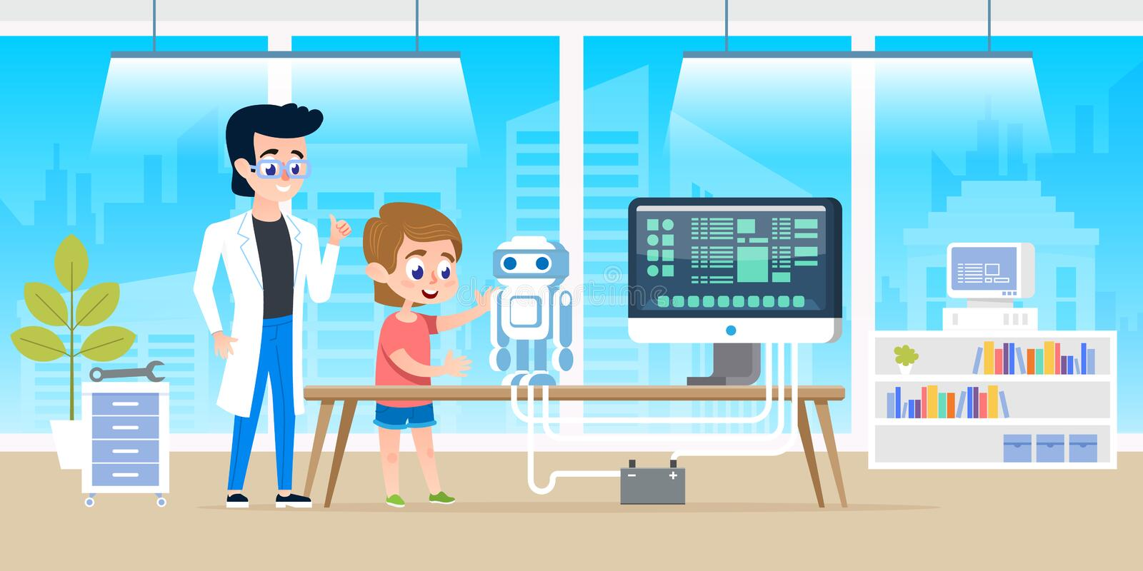 Handsome teacher help little boy with programming and creating smart robot. Courses at modern office classrom for kids royalty free illustration