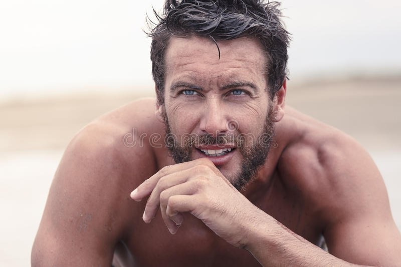 Handsome Thoughtful Athletic Man with No Shirt royalty free stock photos
