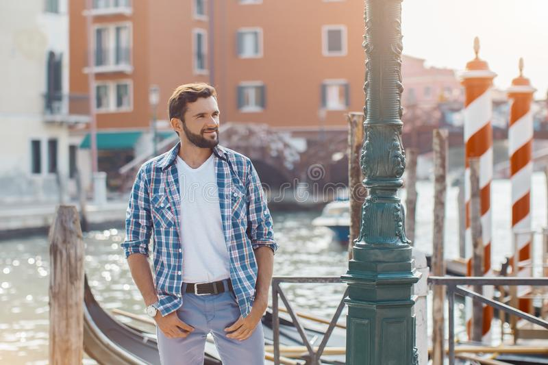 Handsome Tourist Man Travel in Venice, Italy. stock photography