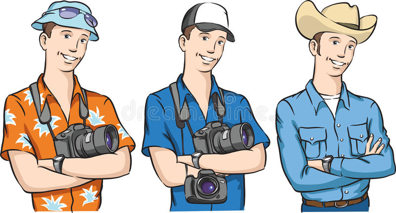 Handsome tourist photographer and cowboy arms crossed smiling vector illustration