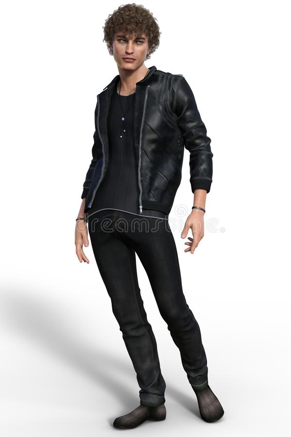 Handsome trendy guy in urban casual outfit. Isolated on white. 3d render vector illustration