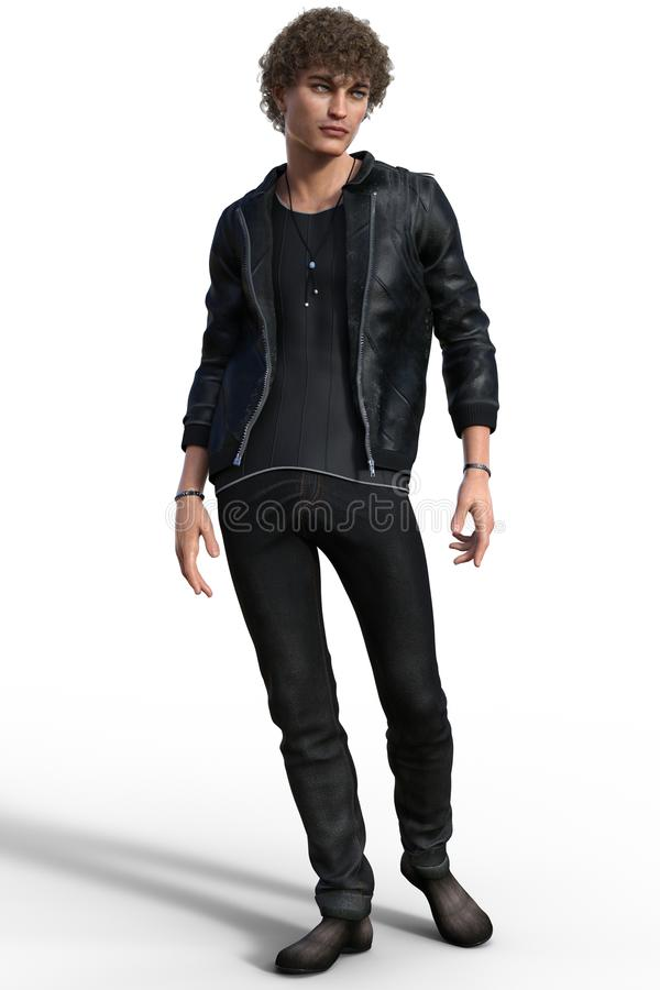 Handsome trendy guy in urban casual outfit. Isolated on white. 3d render royalty free illustration