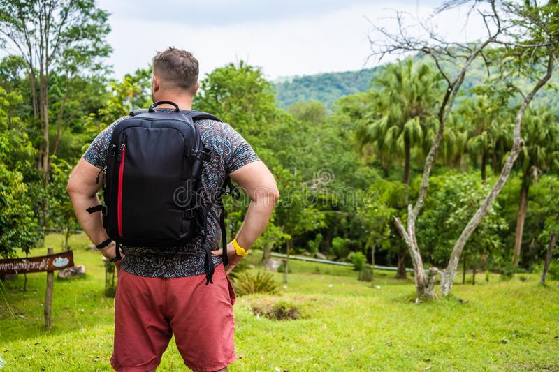Handsome tropical forest with a traveler young man with a backpack on the road to Thailand forest. A man walks on a stock photos