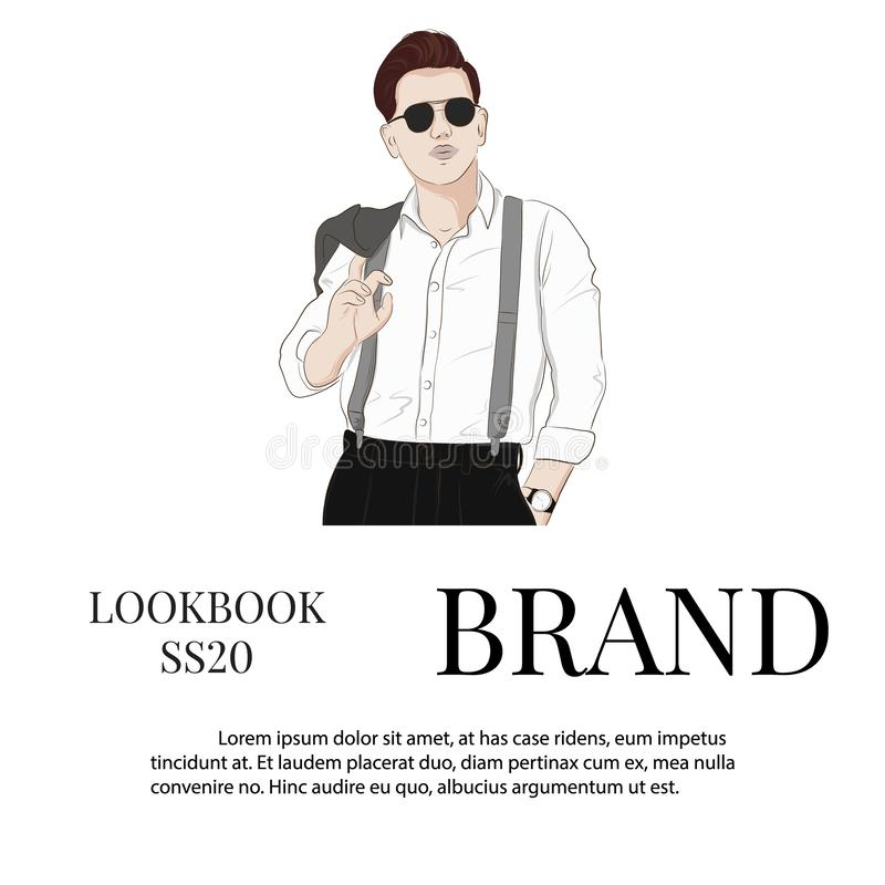 Handsome vector hand drawn guy in stylish elegant clothes and glasses. Man Business look. Trendy sketch of street style royalty free illustration