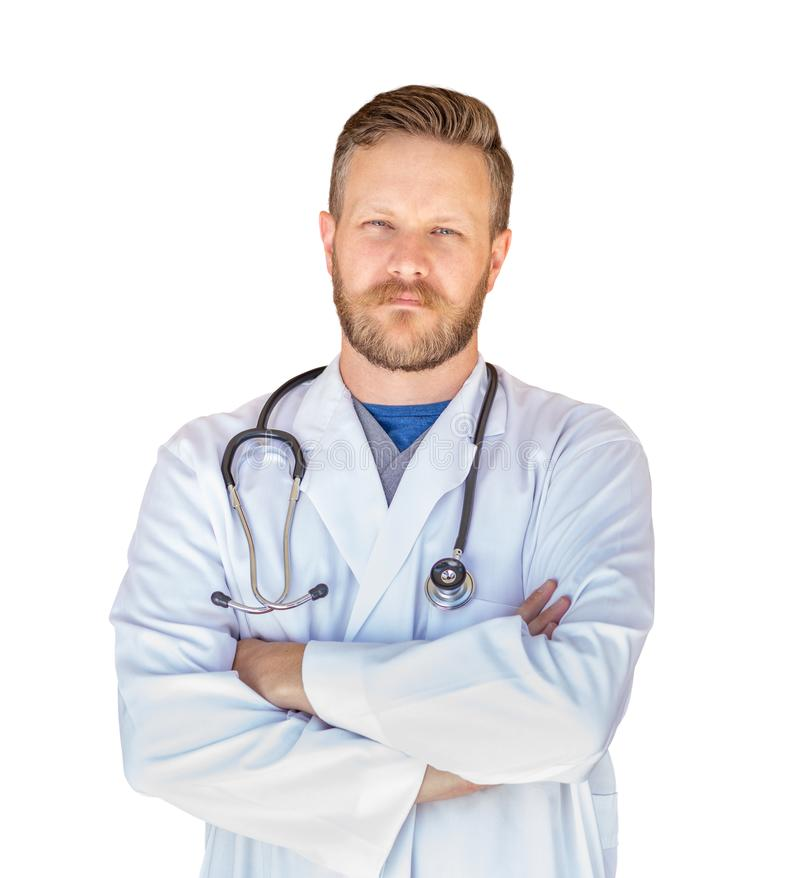 Handsome Young Adult Male Doctor With Beard Isolated On White royalty free stock images