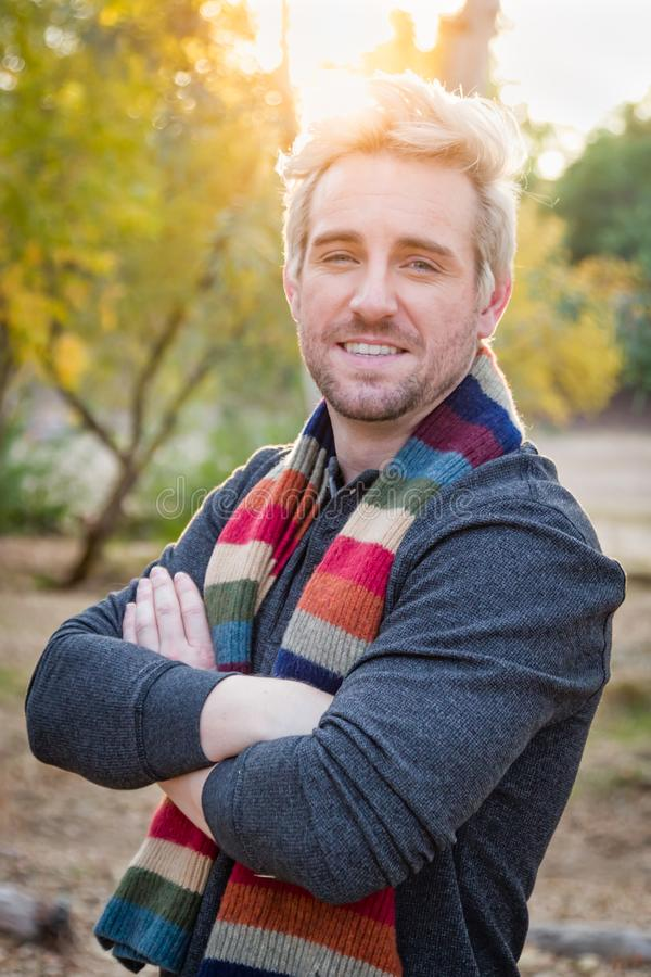 Handsome Young Adult Male Wearing Scarf Portrait Outdoors stock image