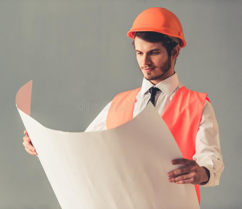 Handsome young architect royalty free stock photography