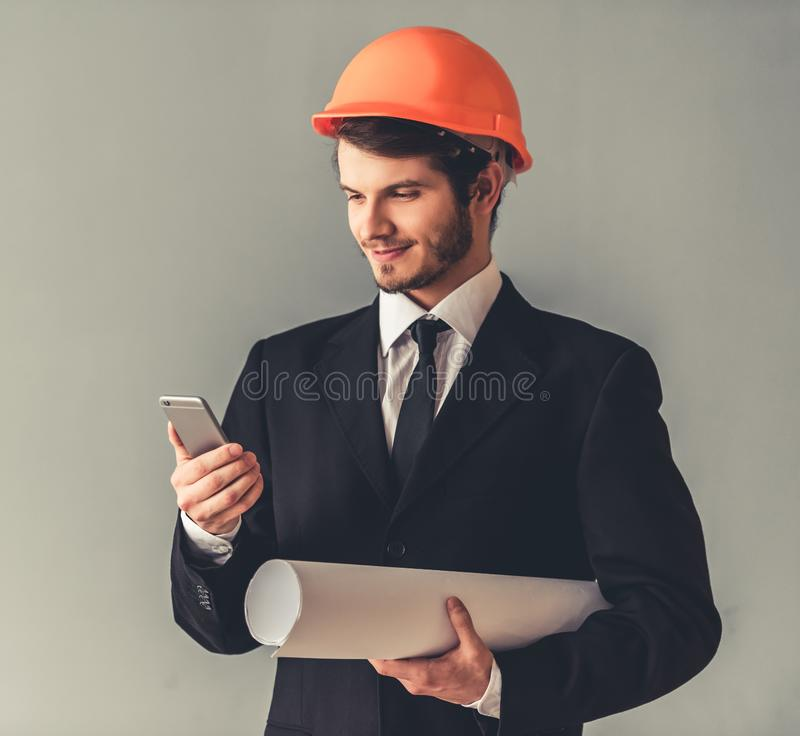 Handsome young architect stock image
