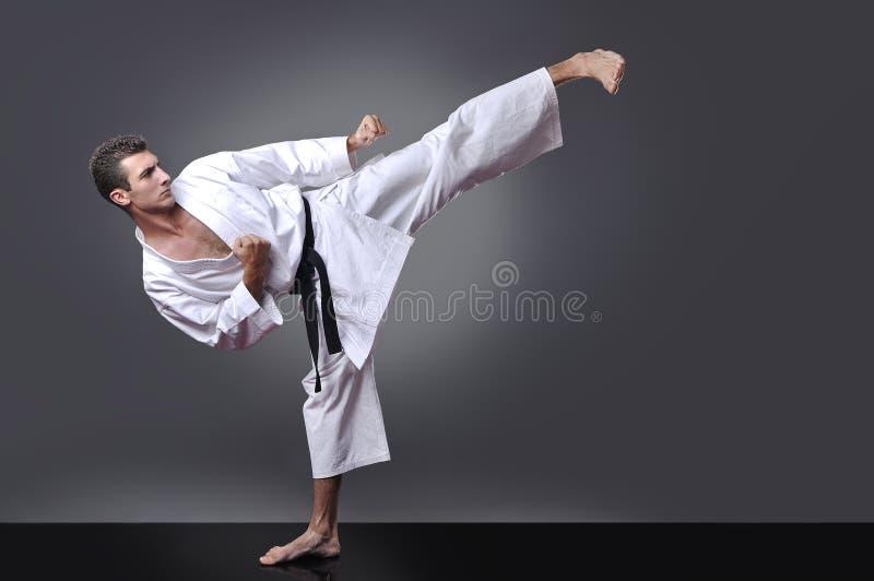 Handsome young black belt male karate doing kick stock image