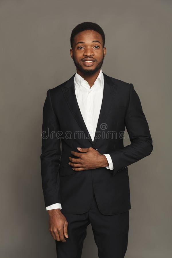Handsome young black man portrait at studio background. stock photos