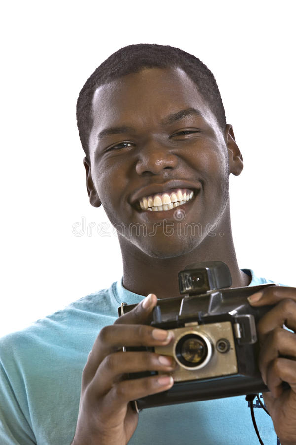 Handsome Young Black Man With Vintage Camera Stock Image ...