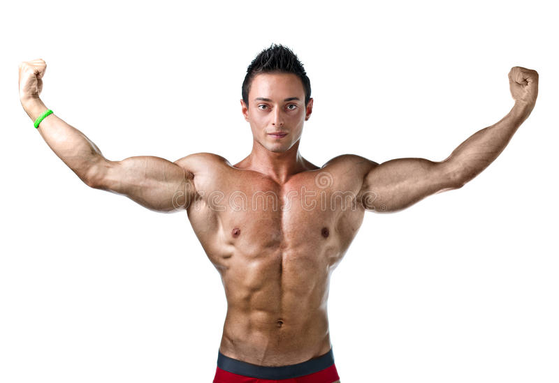 Handsome young bodybuilder with arms spread open. Attractive young muscle man shirtless with arms spread open, isolated on white stock images