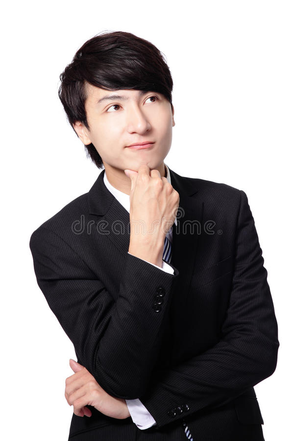 Handsome young business man think stock photos