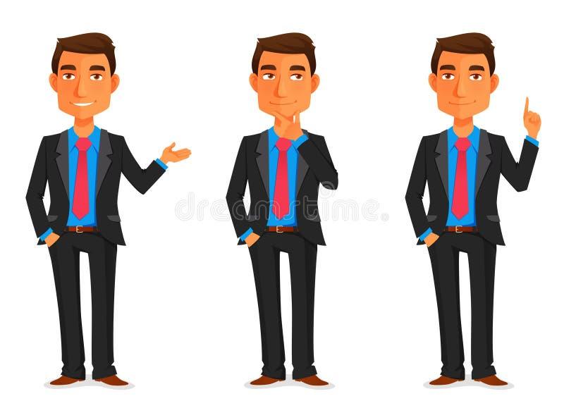 Handsome young businessman. Cartoon illustration of a handsome young businessman in various poses vector illustration