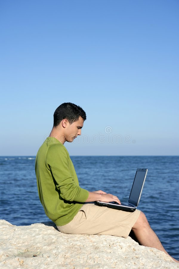 Download Handsome Young Businessman Computer Beach Stock Image - Image: 8714213