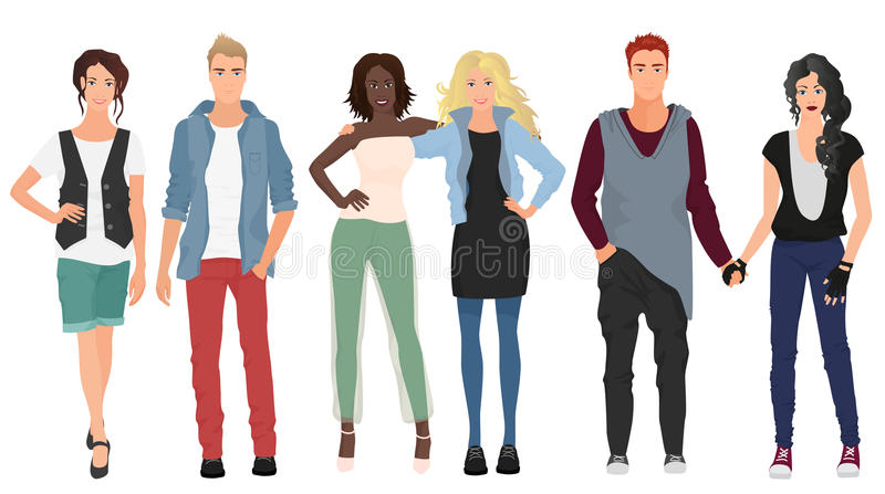 Handsome young guys with beautiful girls models couples in casual modern fashion clothes . People couples. vector illustration