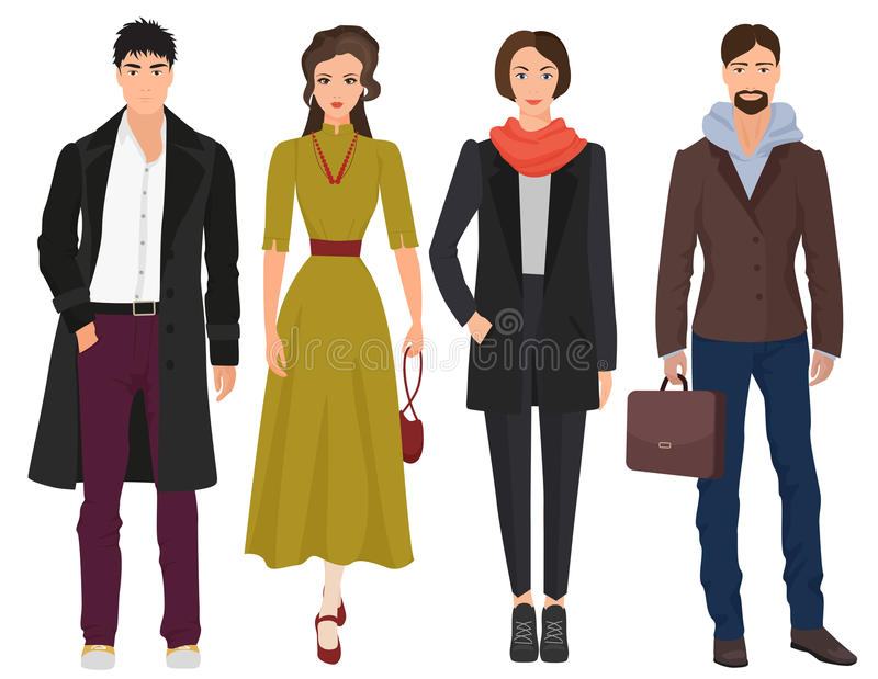 Handsome young guys with beautiful girls woman models in autumn spring casual modern fashion clothes . People royalty free illustration