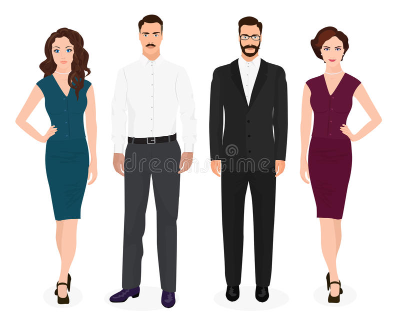 Handsome young guys man with beautiful girls woman couple isolated. Fashion people set. stock illustration