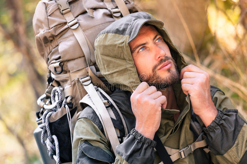 Handsome young hiker portrait royalty free stock photo