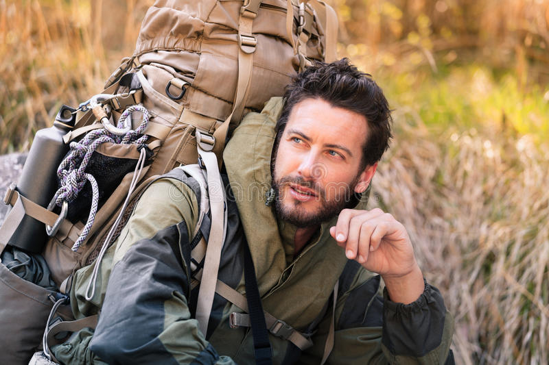 Handsome young hiker portrait stock images