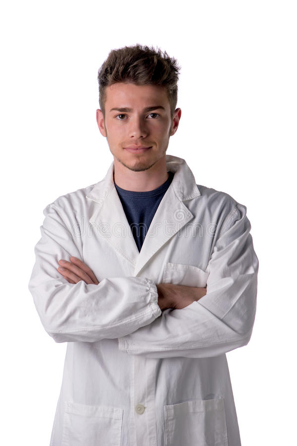 Handsome young male doctor, nurse or pharmacy worker royalty free stock photos